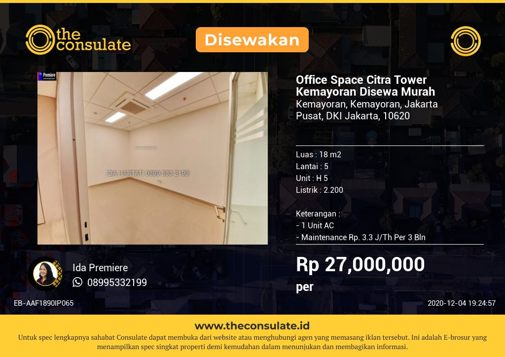 Office Space Citra Tower Kemayoran Disewa Murah