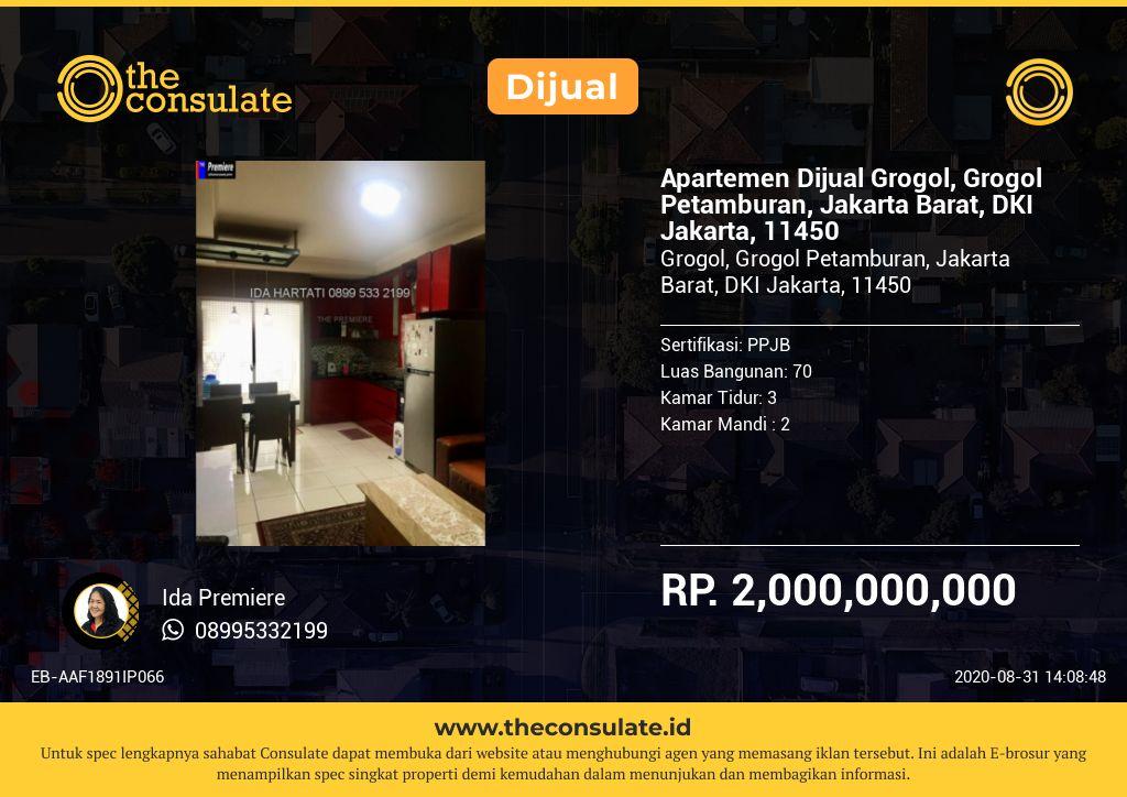 Apartemen Dijual Grogol, Grogol Petamburan, Jakarta Barat, DKI Jakarta, 11450