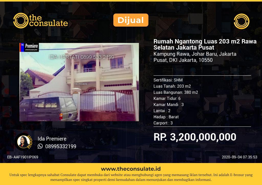 Rumah Ngantong Luas 203 m2 Rawa Selatan Jakarta Pusat