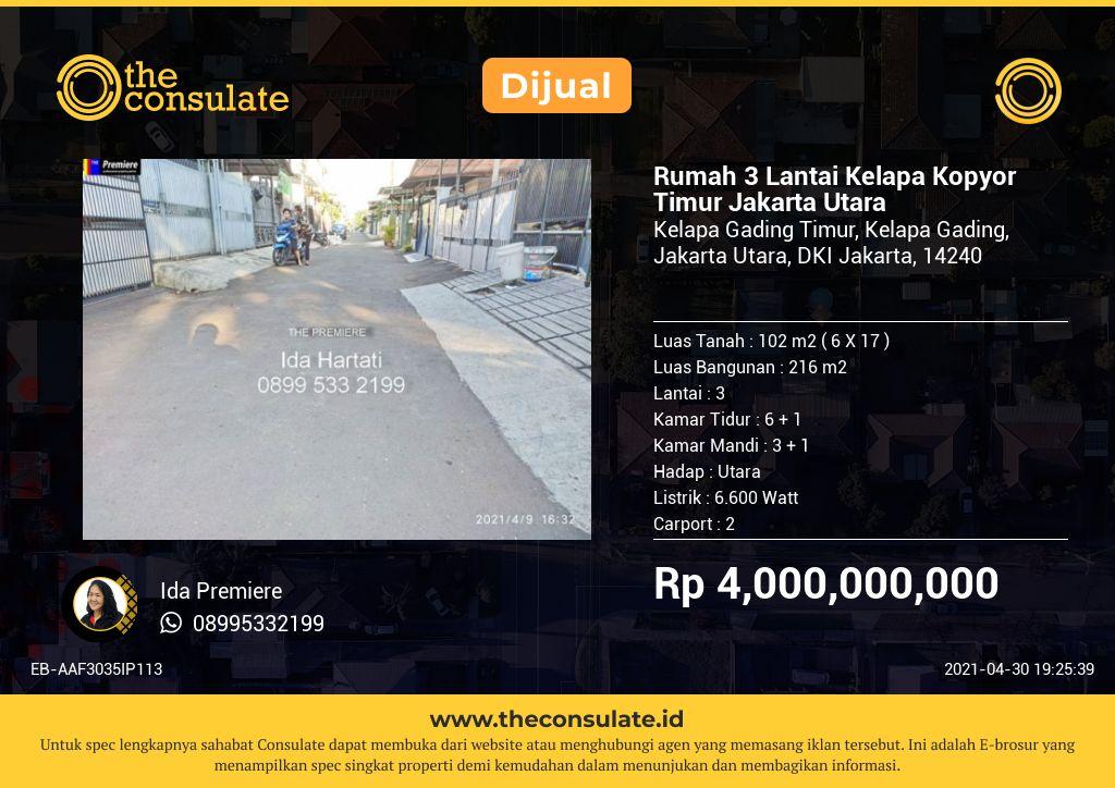 Rumah 3 Lantai Kelapa Kopyor  Timur Jakarta Utara