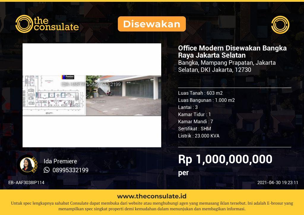 Office Modern Disewakan Bangka Raya Jakarta Selatan