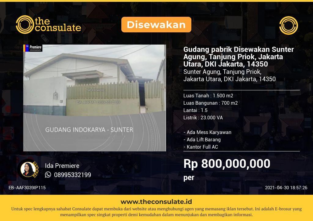 Gudang pabrik Disewakan Sunter Agung, Tanjung Priok, Jakarta Utara, DKI Jakarta, 14350