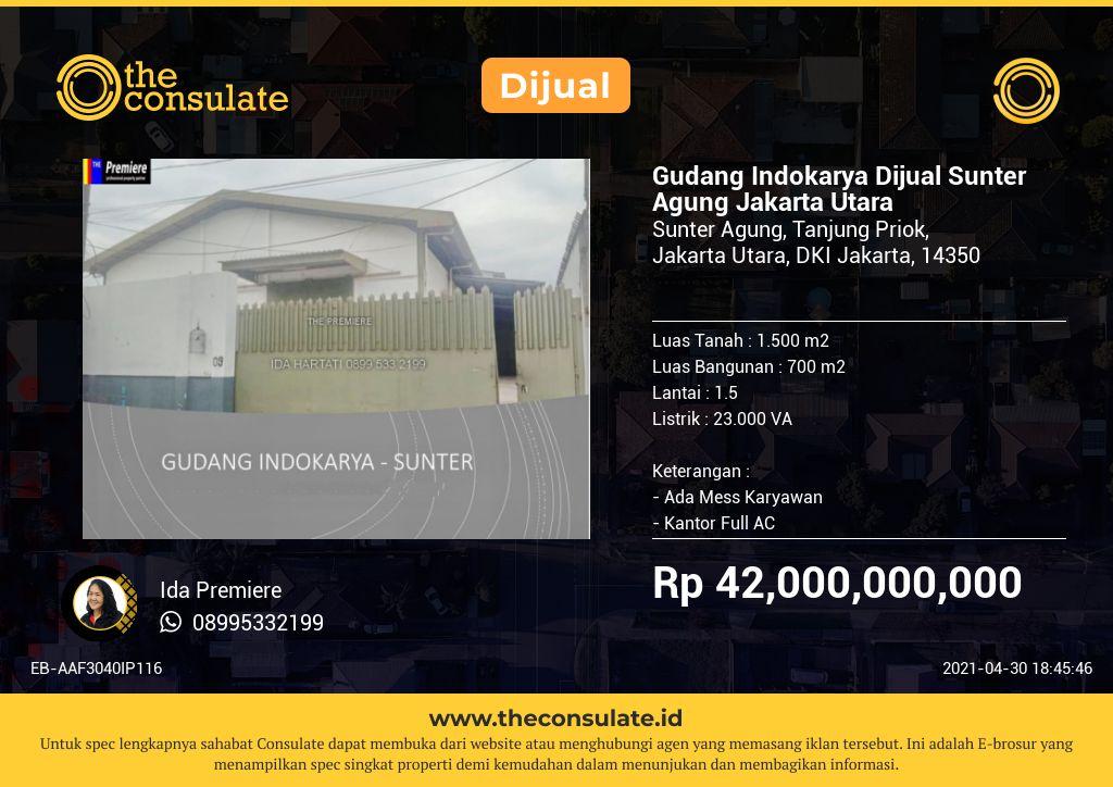 Gudang Indokarya Dijual Sunter Agung Jakarta Utara