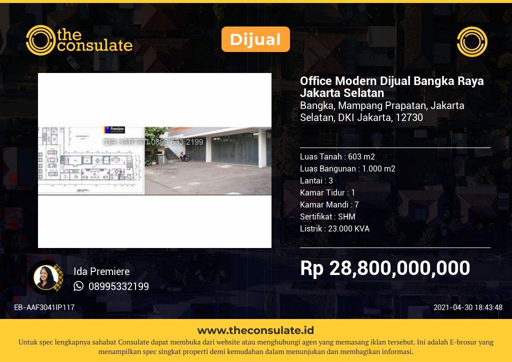 Office Modern Dijual Bangka Raya Jakarta Selatan