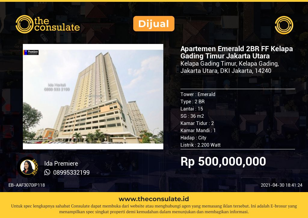 Apartemen Emerald 2BR FF Kelapa Gading Timur Jakarta Utara