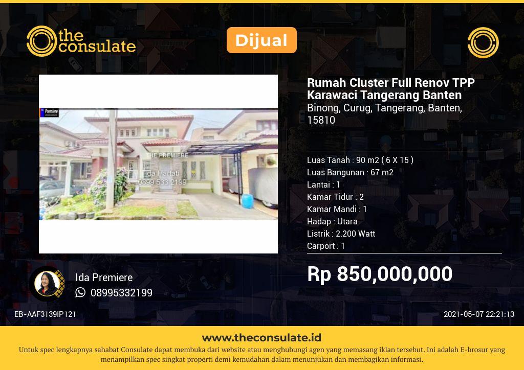 Rumah Cluster Full Renov TPP Karawaci Tangerang Banten