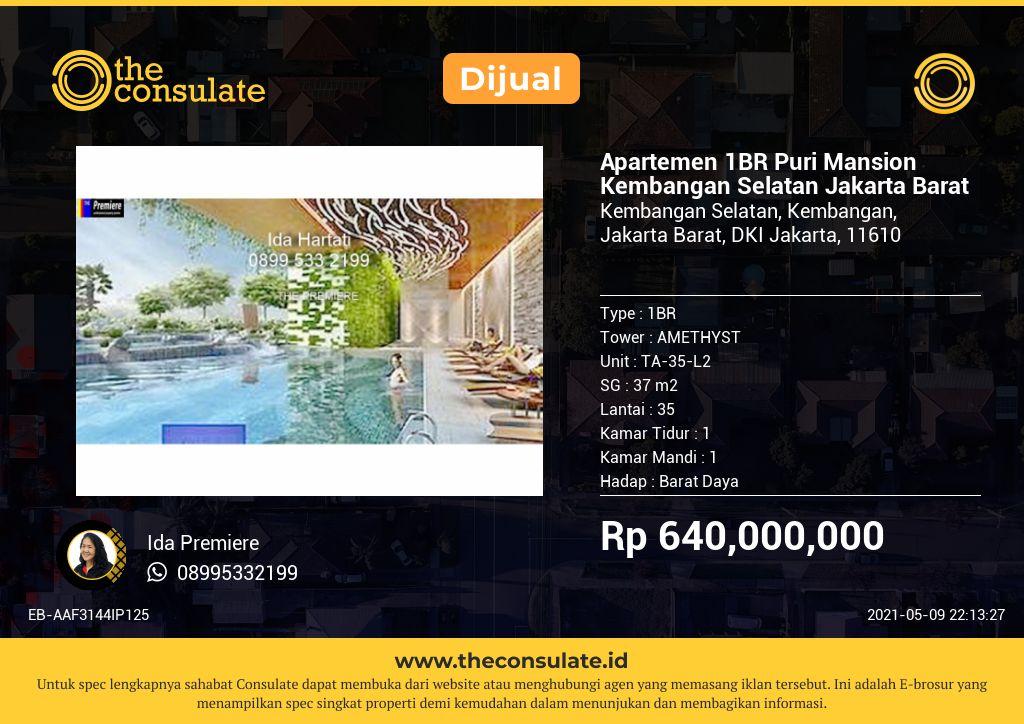 Apartemen 1BR Puri Mansion Kembangan Selatan Jakarta Barat