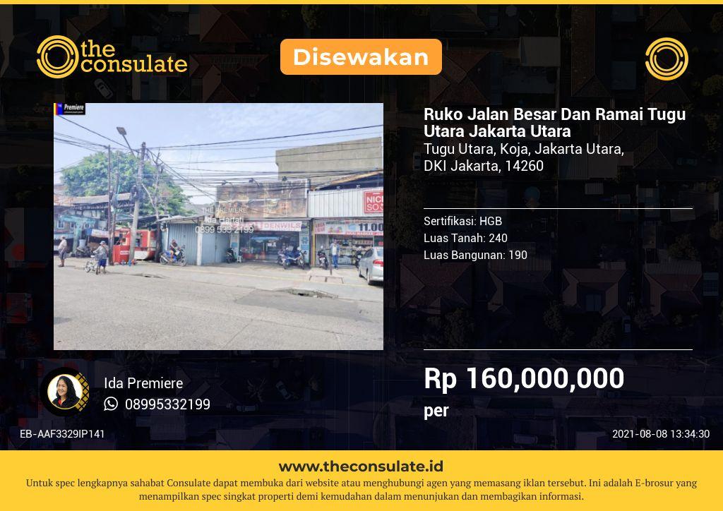Ruko Jalan Besar Dan Ramai Tugu Utara Jakarta Utara