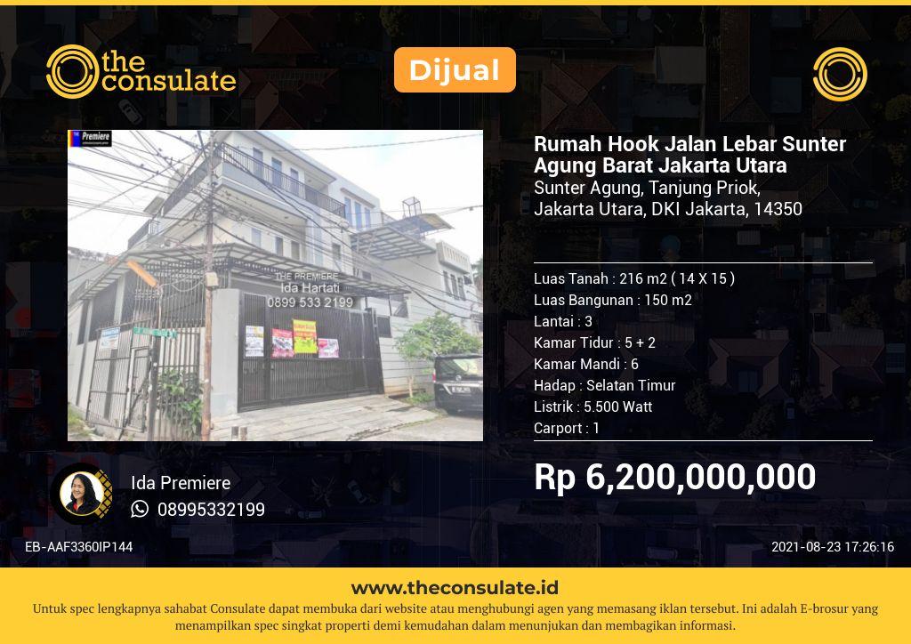 Rumah Hook Jalan Lebar Sunter Agung Barat Jakarta Utara