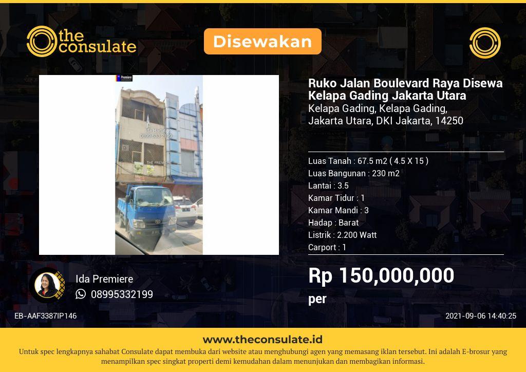 Ruko Jalan Boulevard Raya Disewa Kelapa Gading Jakarta Utara