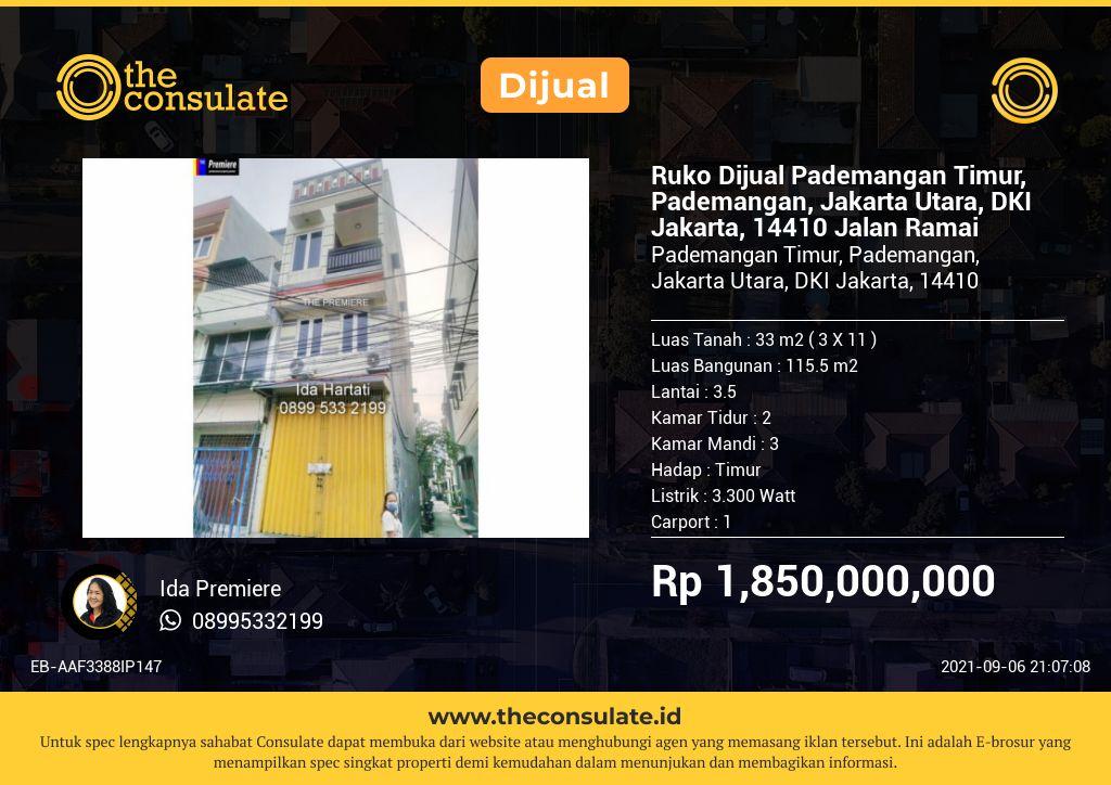 Ruko Dijual Pademangan Timur, Pademangan, Jakarta Utara, DKI Jakarta, 14410
