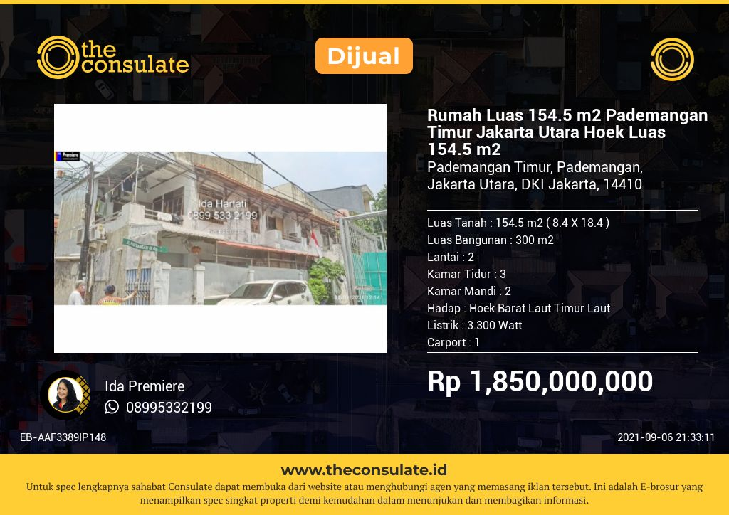 Rumah Luas 154.5 m2 Pademangan Timur Jakarta Utara