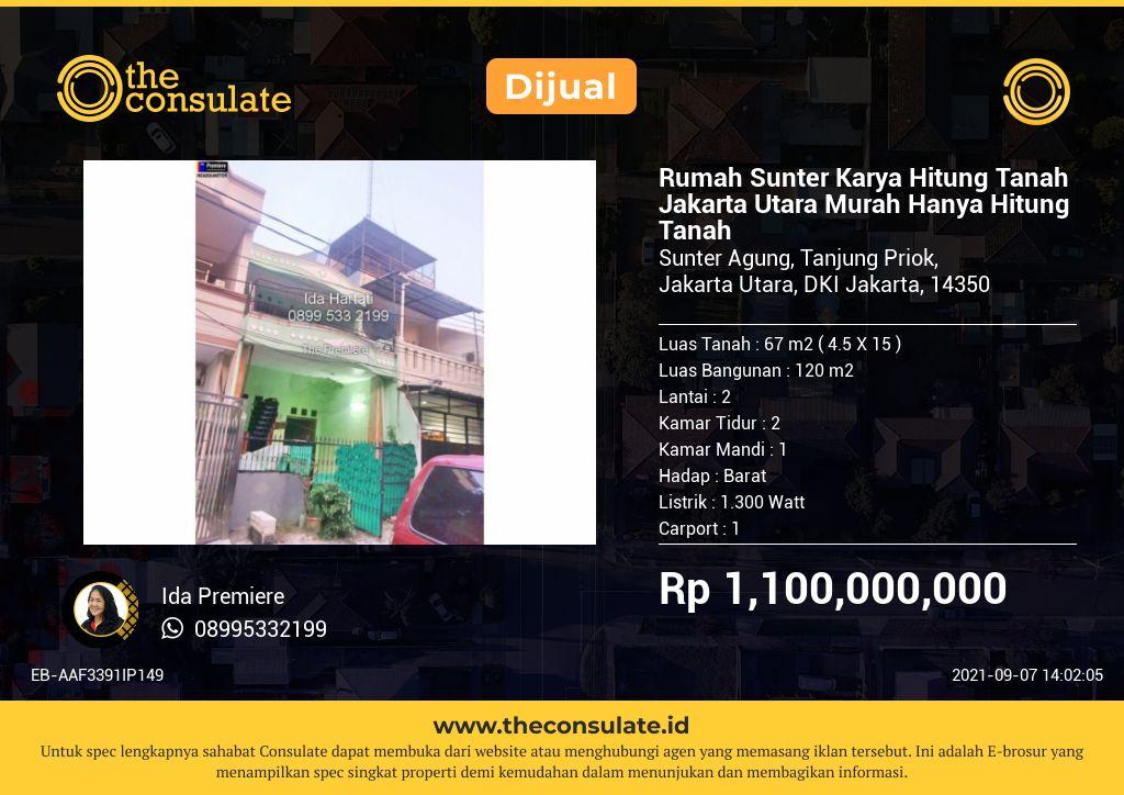 Rumah Sunter Karya Hitung Tanah Jakarta Utara