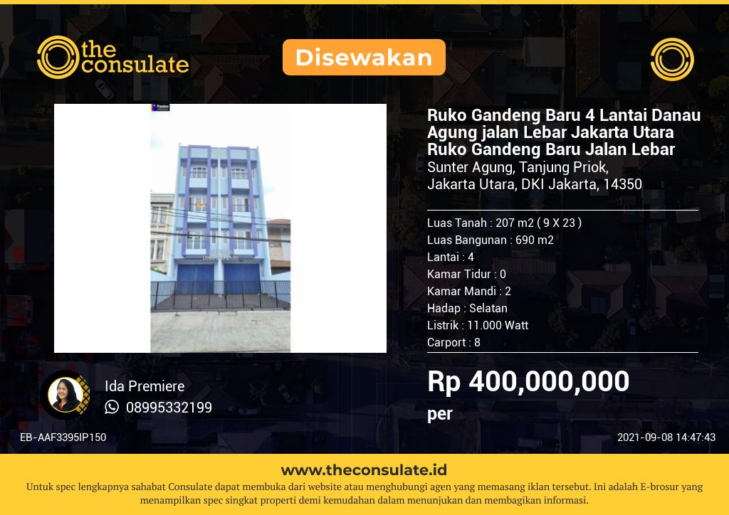 Ruko Gandeng Baru 4 Lantai Danau Agung jalan Lebar Jakarta Utara