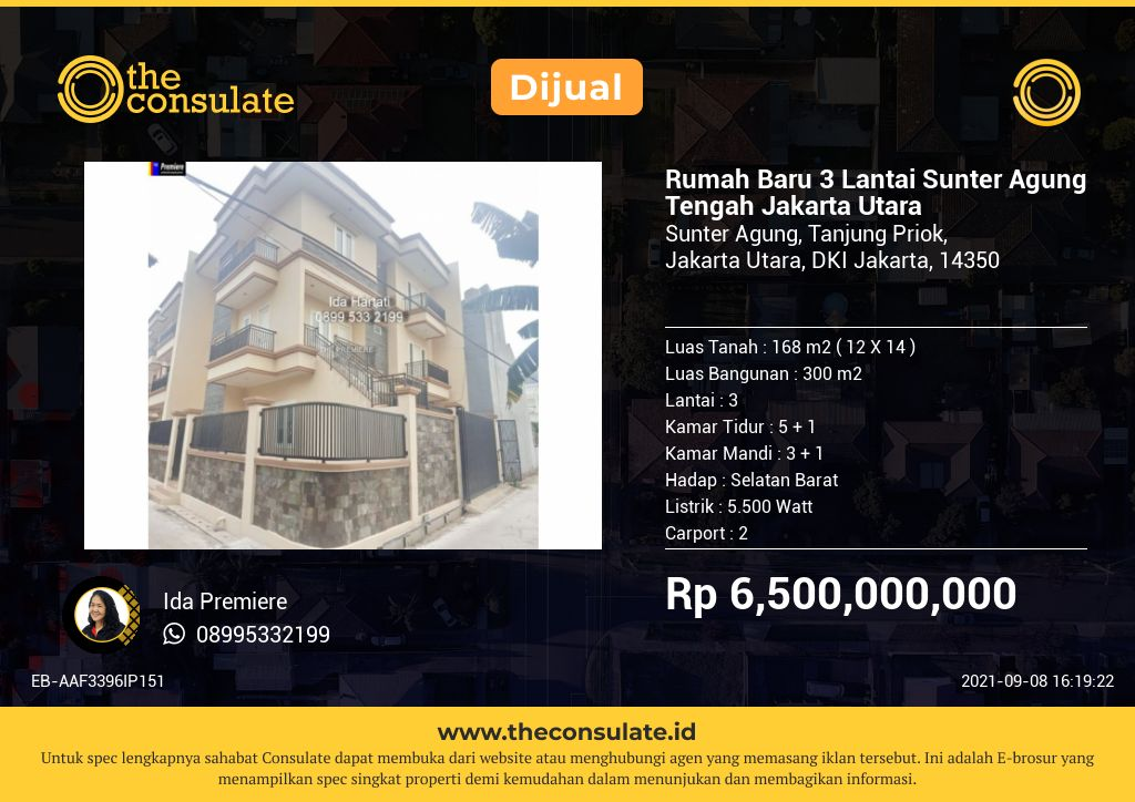 Rumah Baru 3 Lantai Sunter Agung Tengah Jakarta Utara