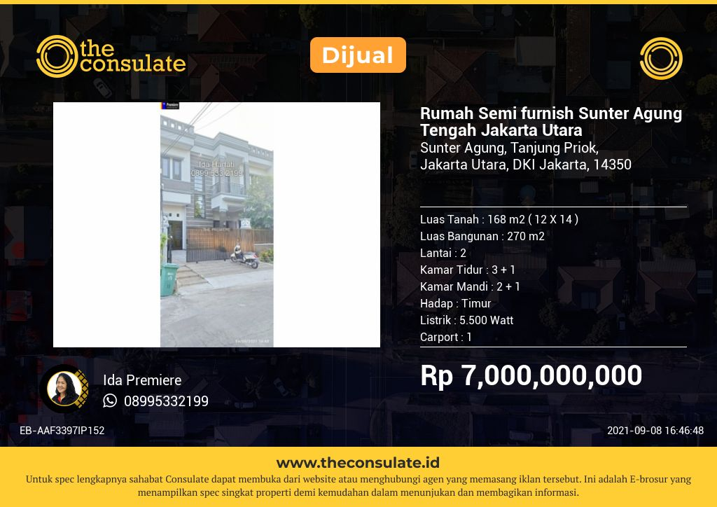 Rumah Semi furnish Sunter Agung Tengah Jakarta Utara