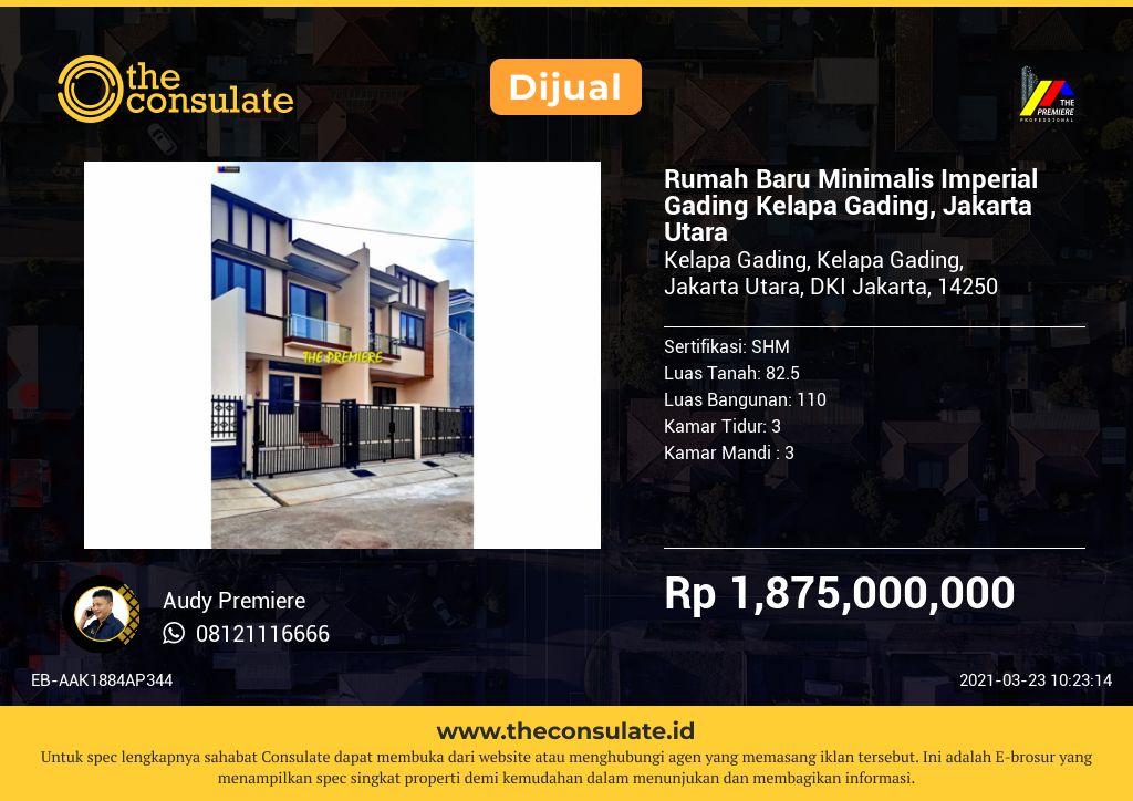 Rumah Baru Minimalis Imperial Gading Kelapa Gading, Jakarta Utara