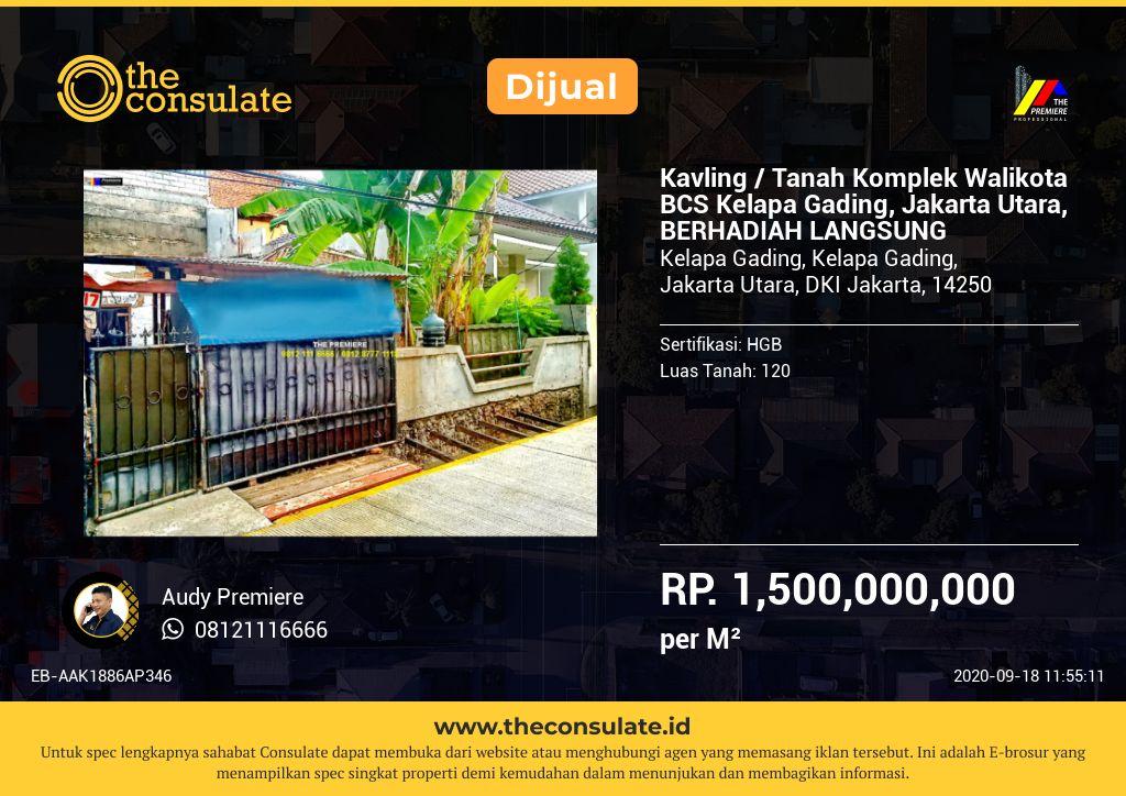 Kavling / Tanah Komplek Walikota BCS Kelapa Gading, Jakarta Utara, BERHADIAH LANGSUNG
