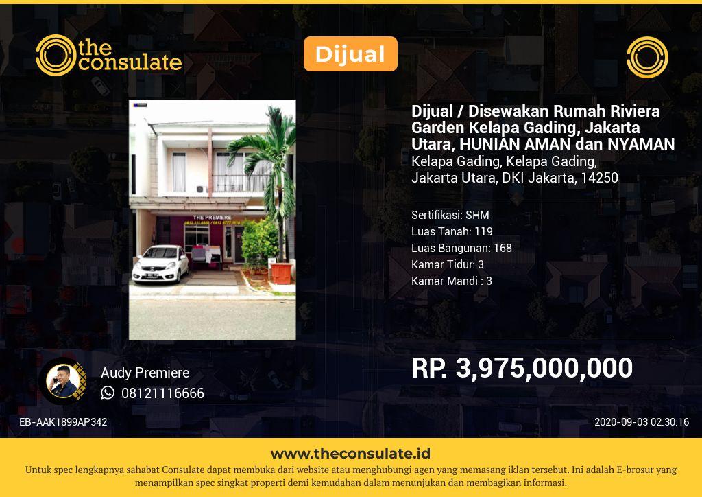 Dijual / Disewakan Rumah Riviera Garden Kelapa Gading, Jakarta Utara, HUNIAN AMAN dan NYAMAN