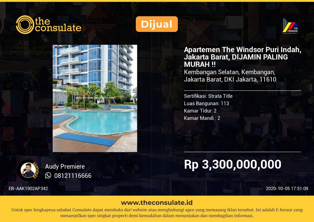 Apartemen The Windsor Puri Indah, Jakarta Barat, DIJAMIN PALING MURAH !!
