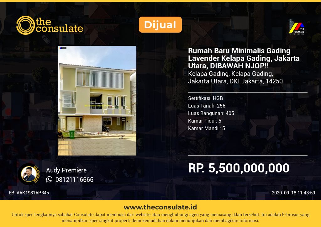 Rumah Baru Minimalis Gading Lavender Kelapa Gading, Jakarta Utara, DIBAWAH NJOP!!