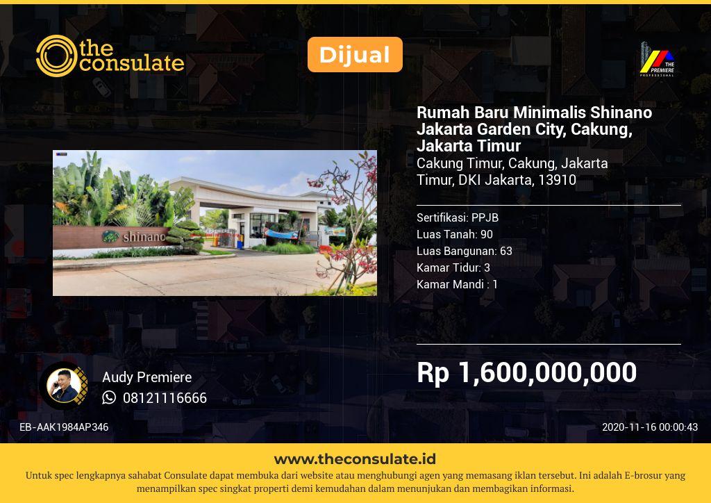 Rumah Baru Minimalis Shinano Jakarta Garden City, Cakung, Jakarta Timur