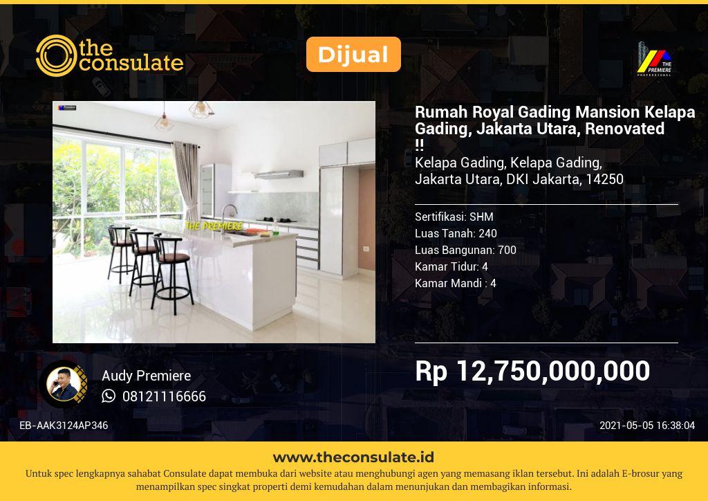 Rumah Royal Gading Mansion Kelapa Gading, Jakarta Utara, Renovated !!