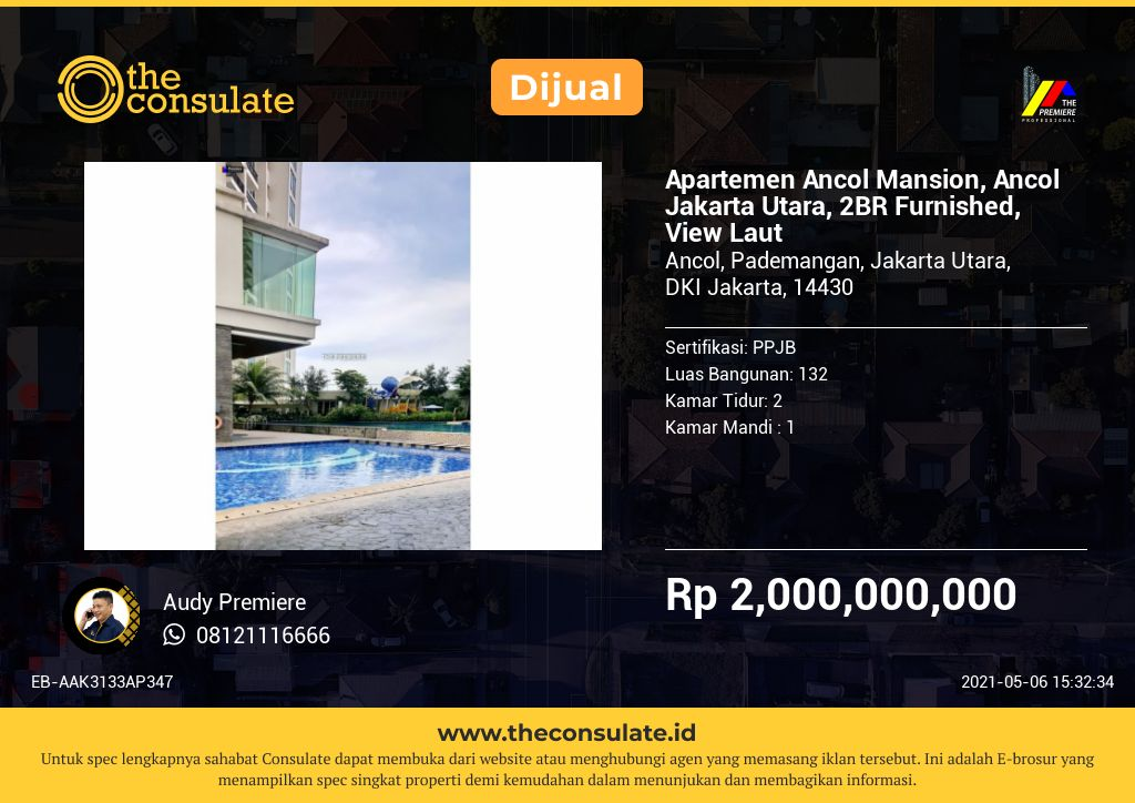 Apartemen Ancol Mansion, Ancol Jakarta Utara, 2BR Furnished, View Laut