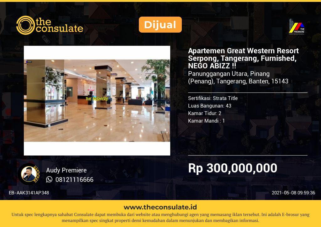 Apartemen Great Western Resort Serpong, Tangerang, Furnished, NEGO ABIZZ !!