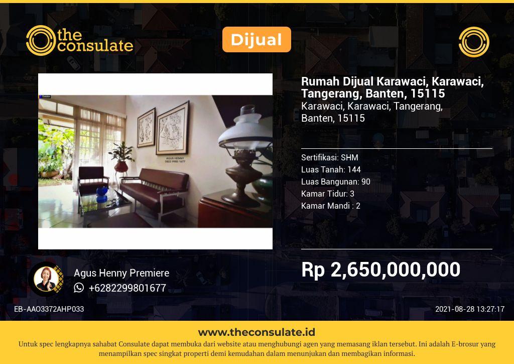 Rumah Dijual Karawaci, Karawaci, Tangerang, Banten, 15115