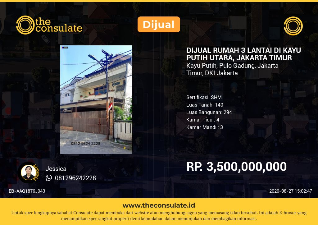 DIJUAL RUMAH 3 LANTAI DI KAYU PUTIH UTARA, JAKARTA TIMUR