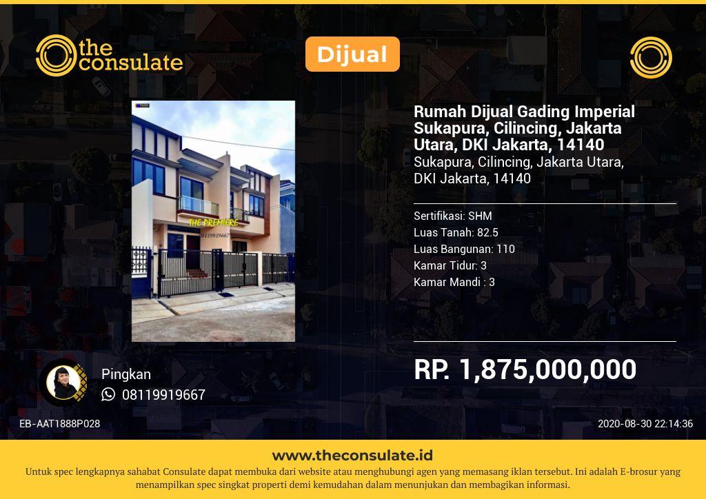 Rumah Dijual Gading Imperial Sukapura, Cilincing, Jakarta Utara, DKI Jakarta, 14140