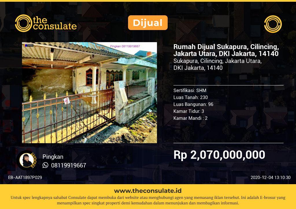 Rumah Dijual Sukapura, Cilincing, Jakarta Utara, DKI Jakarta, 14140