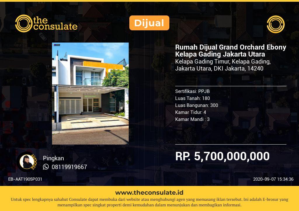 Rumah Dijual Grand Orchard Ebony Kelapa Gading Jakarta Utara