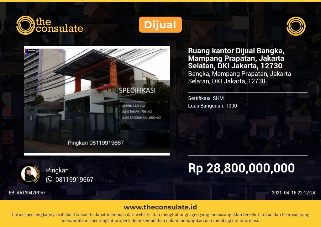 Ruang kantor Dijual Bangka, Mampang Prapatan, Jakarta Selatan, DKI Jakarta, 12730