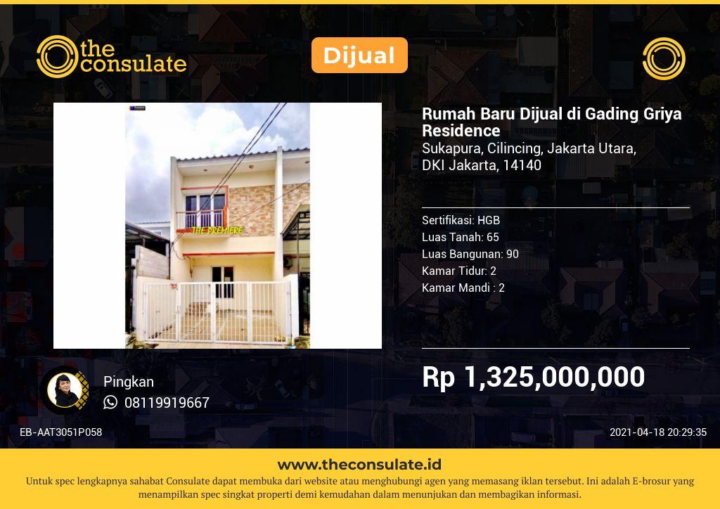 Rumah Baru Dijual di Gading Griya Residence