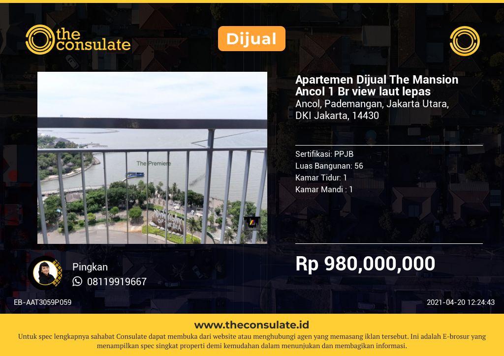 Apartemen Dijual The Mansion Ancol 1 Br view laut lepas