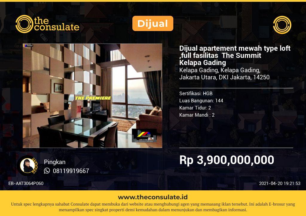 Dijual apartement mewah type loft ,full fasilitas  The Summit Kelapa Gading