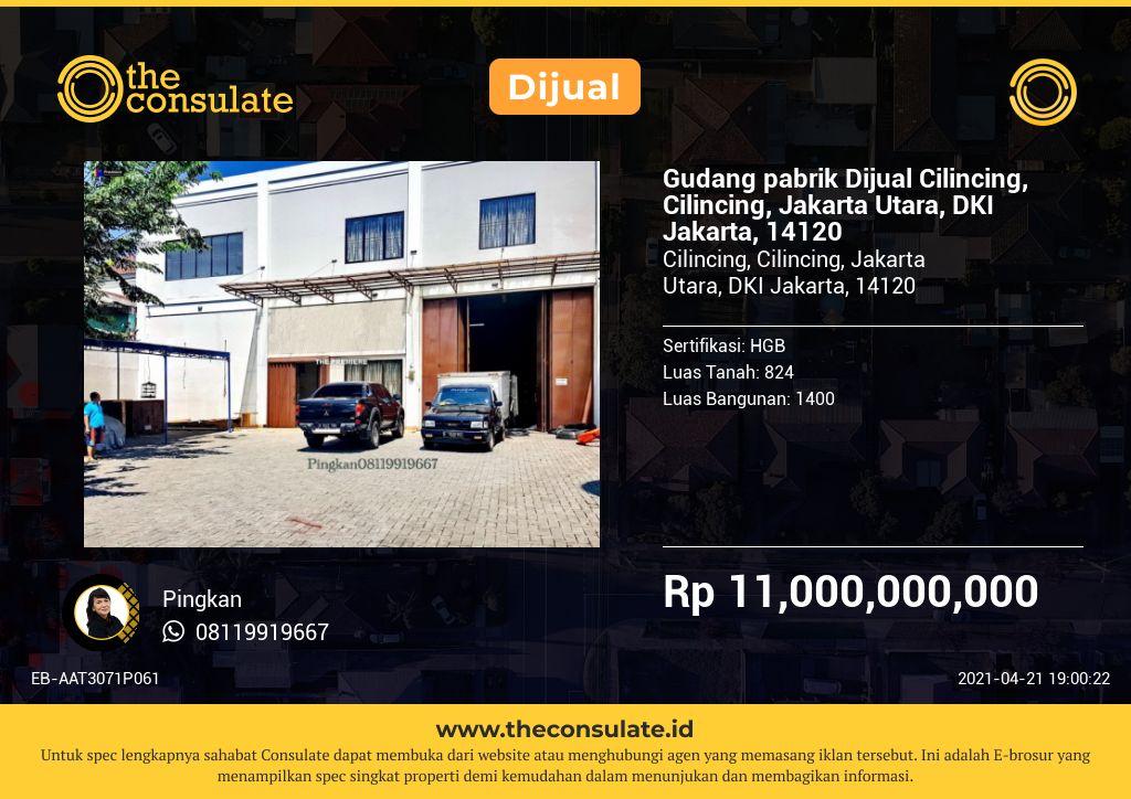 Gudang pabrik Dijual Cilincing, Cilincing, Jakarta Utara, DKI Jakarta, 14120