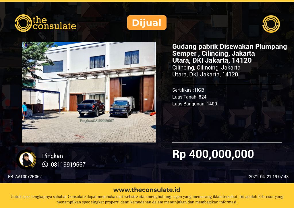 Gudang pabrik Disewakan Plumpang Semper , Cilincing, Jakarta Utara, DKI Jakarta, 14120