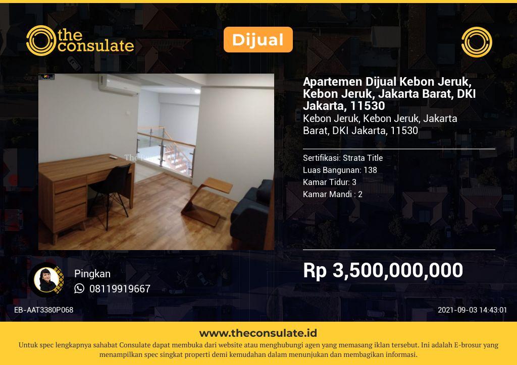 Apartemen Dijual Kebon Jeruk, Kebon Jeruk, Jakarta Barat, DKI Jakarta, 11530