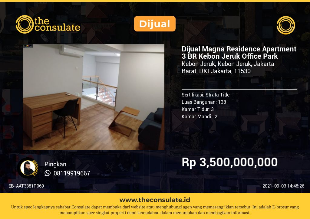 Dijual Magna Residence Apartment 3 BR Kebon Jeruk Office Park