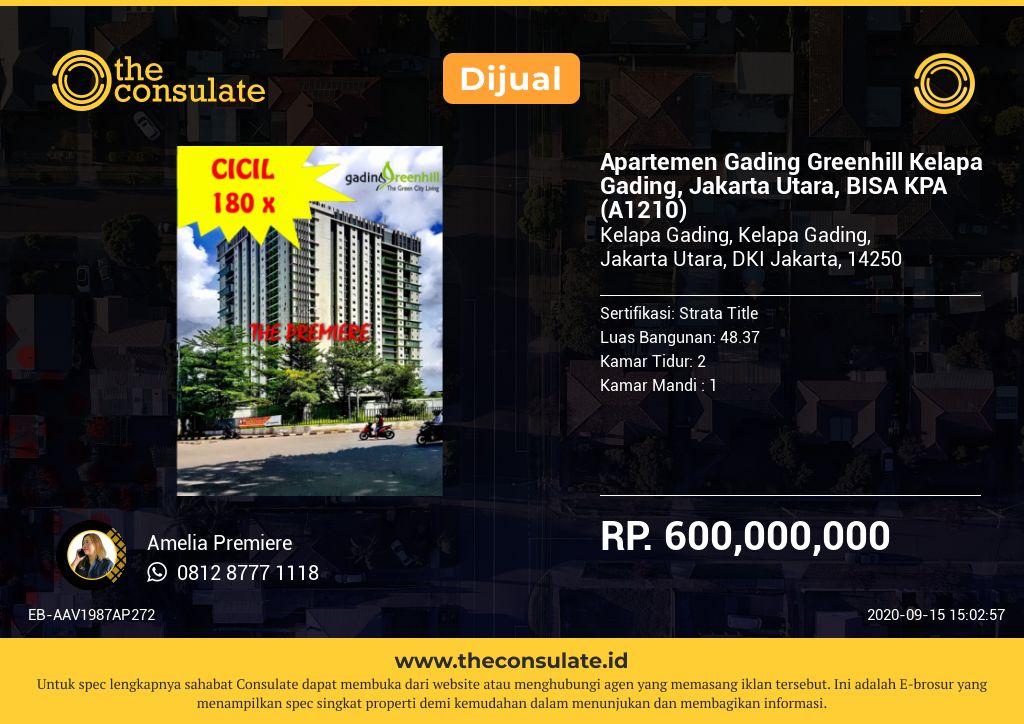 Apartemen Gading Greenhill Kelapa Gading, Jakarta Utara, BISA KPA (A1210)