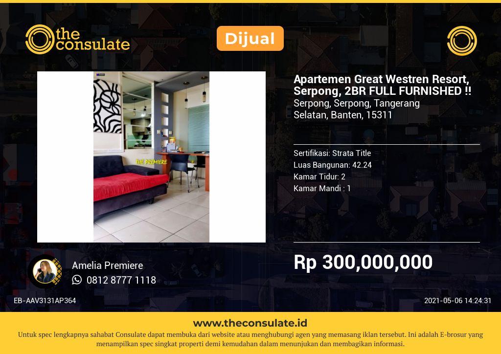 Apartemen Great Westren Resort, Serpong, 2BR FULL FURNISHED !!