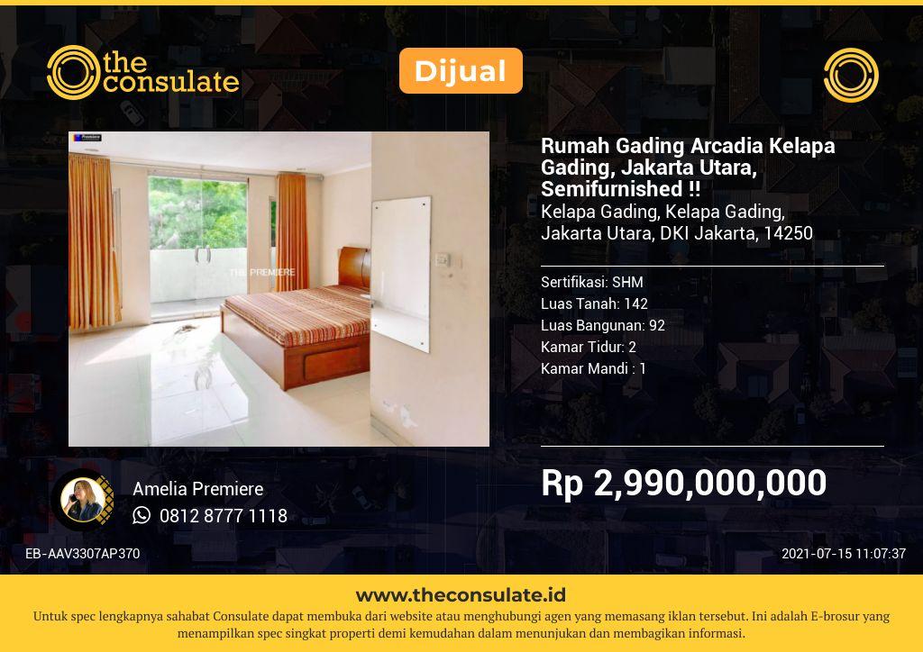 Rumah Gading Arcadia Kelapa Gading, Jakarta Utara, Semifurnished !!