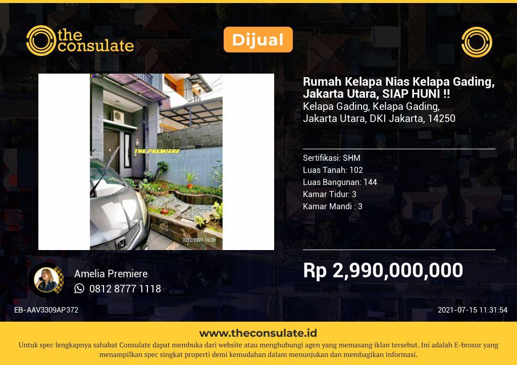 Rumah Kelapa Nias Kelapa Gading, Jakarta Utara, SIAP HUNI !!