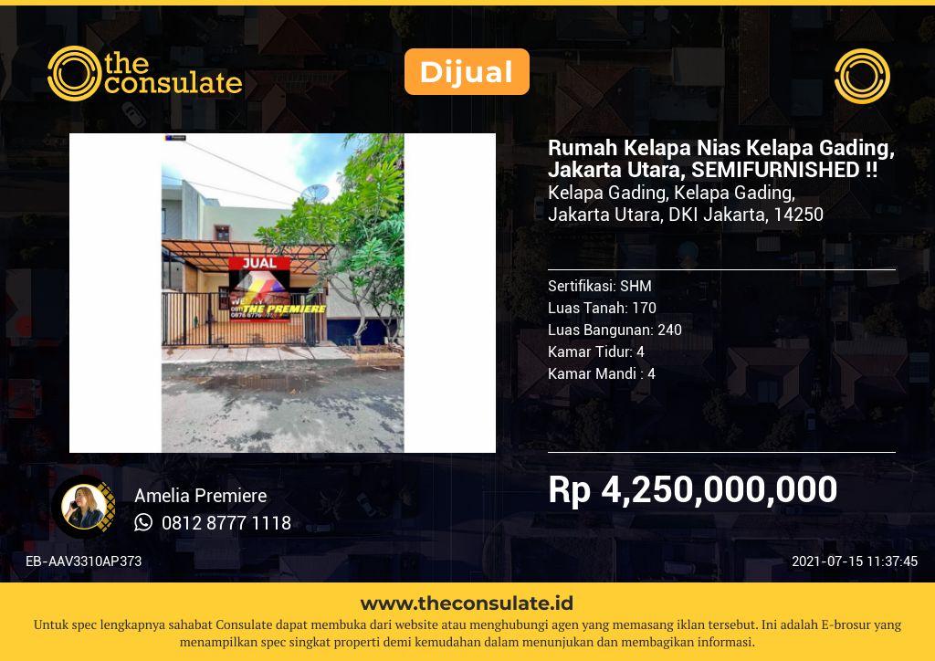 Rumah Kelapa Nias Kelapa Gading, Jakarta Utara, SEMIFURNISHED !!
