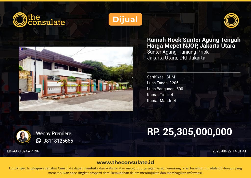 Rumah Hoek Sunter Agung Tengah Harga Mepet NJOP, Jakarta Utara