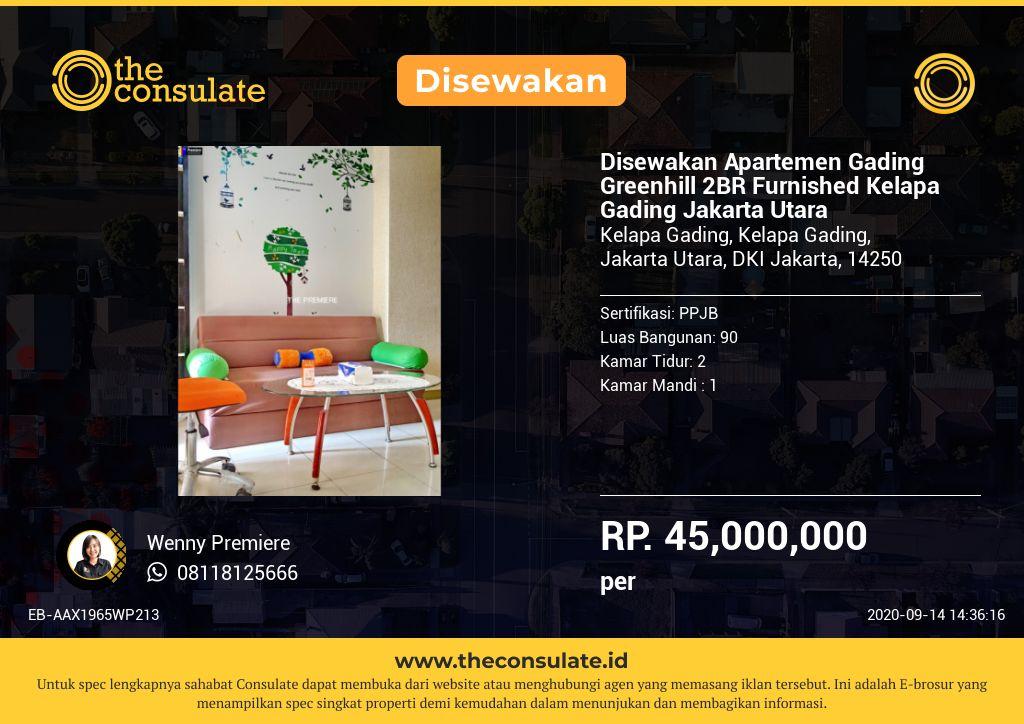 Disewakan Apartemen Gading Greenhill 2BR Furnished Kelapa Gading Jakarta Utara