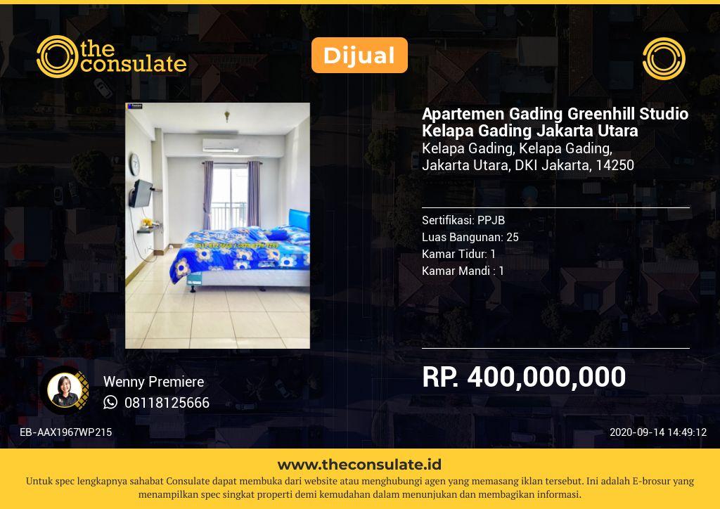 Apartemen Gading Greenhill Studio Kelapa Gading Jakarta Utara